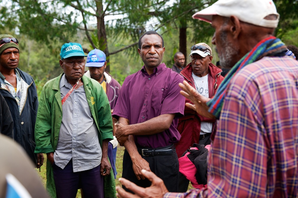 (C) Dominic Mur listening to community members in their home village of Grisa in Banz area of Jiwarka Province, Papua New Guinea. Grisa was the first village to participate in the Community Conversations program. Since the program started the community has seen many positive changes such as reduction in domestic violence and better gender equality. Dominic Mur (36) lives in the village of Grisa, Banz area of Jiwarka Province, Papua New Guinea. Dominic is married and lives with his wife Helen and his four children. Dominic has been part of the Caritas Australia funded Community Conversations program since 2007 and helps facilitate workshops and village based community engagement sessions. A lot of positive changes have happened in his life, and his family and community have benefited from the program. Community Conversations aims to assist communities to discuss the issues impacting on communal life, and to develop communal responses to the challenges with which they are confronted. It involves a commitment on the part of the relevant community to enabling all its members to participate in discussions of problems and the development of solutions. Community Conversations works best where everyone – regardless of gender or age or ability or background – is able to participate. Youths are trained in skills for communicating and working with others, in the ability to reflect on personal beliefs and practices, and in HIV – particularly the 'driving forces' of HIV which facilitate its spread across communities. Youths subsequently undertook work within their own families, with other youth and with their communities, all aimed at building understanding of HIV and reducing the incidence of election-related violence. Picture:- Richard Wainwright/Caritas Australia